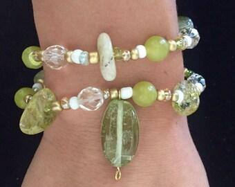 Crystal and Gem Wrap Bracelet