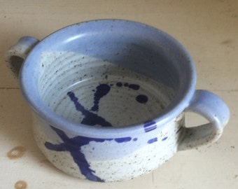 vintage pottery, soup bowl, with handles, blue and grey, with paint splatters