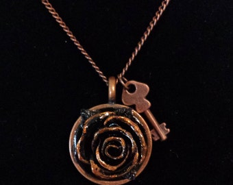 Polymer clay rose necklace with key charm