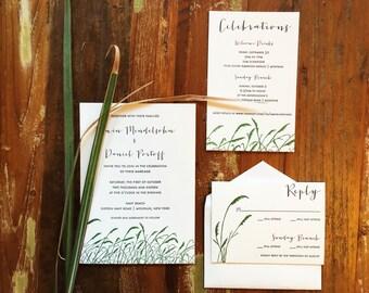 MONTAUK Wedding Invitation Suite   Coastal, Beach Wedding Letterpress with Sea Grass   Set of 50
