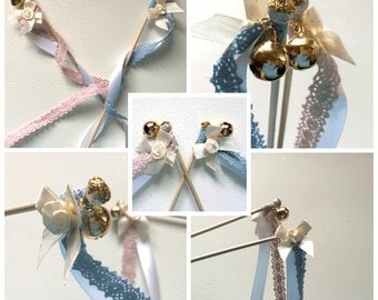Set of 10 glamorous romantic fairy wands - wedding wands - for the wedding of your dreams in delicate pastel shades!