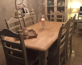 Shabby chic bespoke table and  chairs. Solid pine, 4, 6 or 8 seats. Laura ashley farrow & ball