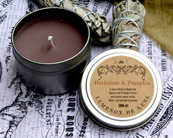 Butternut Pumpkin. 6 oz Tin Can. All Natural. Soy Candle