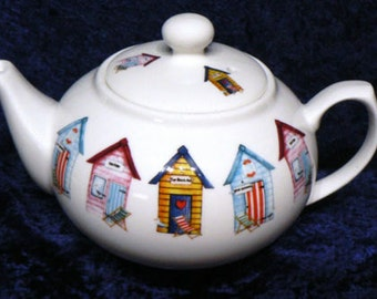 Beach Hut Teapot 2 cup or 6 cup porcelain tepot decorated all round with colourful beach huts