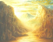 God spiritual Golden Sun Rays Mountain River Golden Sunset Sienic Art Print Church Art Bathroom Livingroom Oil Art Work Traditional