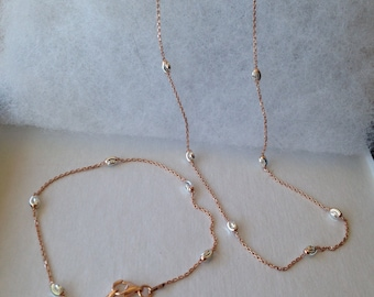 925 Silver Gold Platted a set Bracelet and Necklace