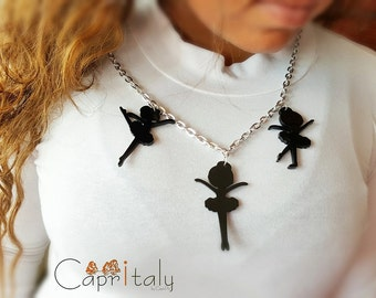 "Nice theme ""dancers"" Necklace in black acrylic"
