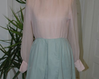 60's Pink and Blue Chiffon Dress