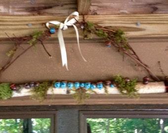 Custom birch, moss, grapevine, acorn name hanger