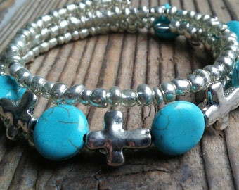 Silver and turquoise cross bracelet