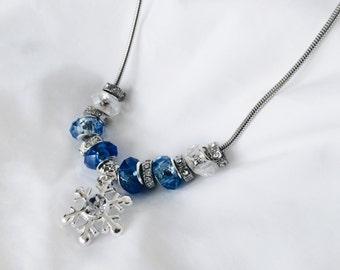 Necklace - Blue Snowflake