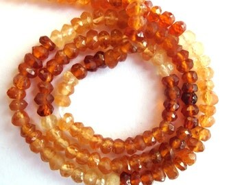 One Strand Of Best Quality Natural Shaded Hessonite Garnet Gemstone 3.5-4 Mm Micro Faceted Rondelle Beads Strand.