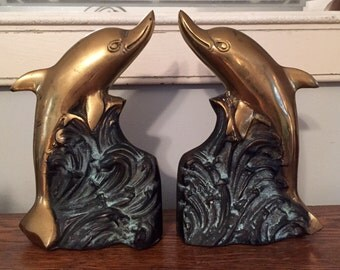 Pair of Solid Brass Dolphin Bookends
