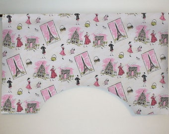 Waverly Tres Chic Pink and Black Paris Fashion Custom Valance Curtain, Lined