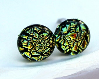Dichroic Glass and Titanium Stud earrings ~ Golden Ember