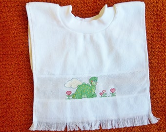 FINISHED Terry Cloth Cross Stitich Baby Bib with Dinosaur Design