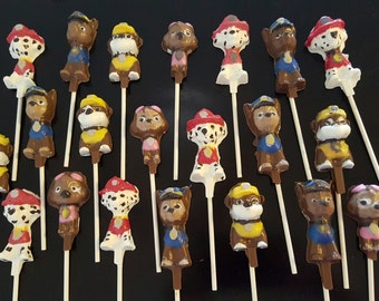 Paw Patrol themed chocolate lollipops party favors Qty 15