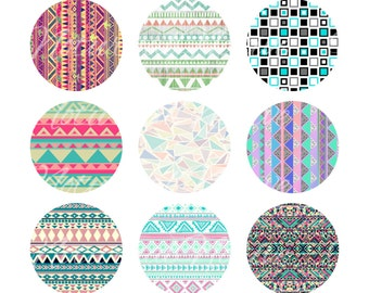 INSTANT DOWNLOAD !!! - 5 Sheets ! Aztec , Leopard , Damask , Textured Pattern Digital Collage 1 inch Bottlecap Images - Buy 1 Get 1 Free !!!