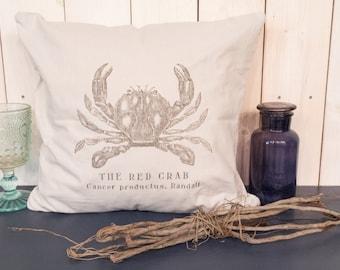 """Pillowcase """"Crab"""" (light grey, 100% cotton)"""