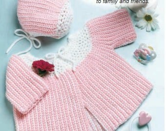 PDF Crochet pattern baby matinee jacket bonnet Instant Download Nr.132