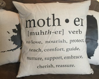 Mother decorative pillow gift canvas & black sentimental unique Mother's Day