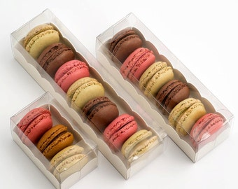 10 Macaron Boxes Clear With Insert Large,Medium & Small Available (macaroon/ribbon not included)