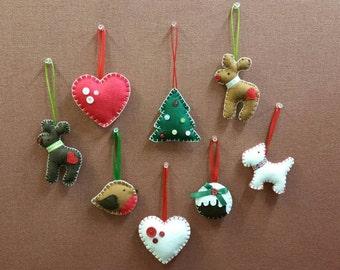 Set of five handmade felt Christmas tree ornaments