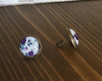 Purple Vintage Floral Earrings Antique Brass