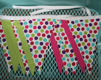 Fabric Flags Banner, Baby Shower, Hot Pink, Lime, Dots