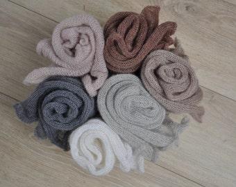 Newborn Mohair Silk Wrap, Knit Newborn Boys Girls Wrap, Soft Stretch Wrap, Photography Prop