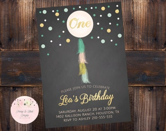 First Birthday Invitation, Balloon Birthday Invitation, Tassel Invitation, Mint, Peach, and Gold Invitation, DIGITAL
