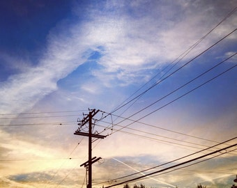 Telephone Wires in the Western Sky - handmade square photo canvas