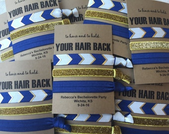 Bachelorette Party Favor Hair Ties, Navy Blue, Gold/White, Bride, Bridesmaids Gift, Wedding Shower, Elastic Hair Tie, Girls Night out,