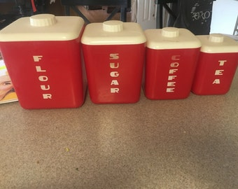 Vintage set of red canisters