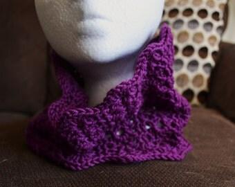 Purple Crochet Cowl Scarf
