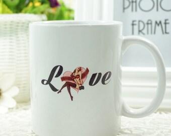 "Valentine's Day - ""Cartoon Girl in Love Carrying a Camera"" Coffee Mug"
