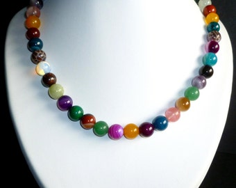 Necklace of 15 different gemstones