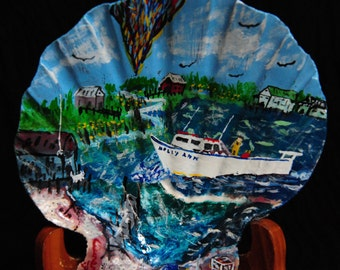 Working Crab Boat on scallop shell by Aurence