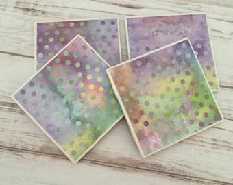 Watercolor Ceramic Coasters, Polka Dot Coasters, Tile Coasters, Coaster Set, Handmade, Housewarming Gift, Gift For Women, Home Decor