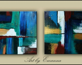 "Original Abstract, Acrylic Textured Painting, Modern painting, Set of 2 Paintings, 24""x48"" Ready to Hang"
