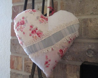 Beautiful Hand Stitched Decorative Heart made from Antique French Linen, Ticking and Small Floral Print