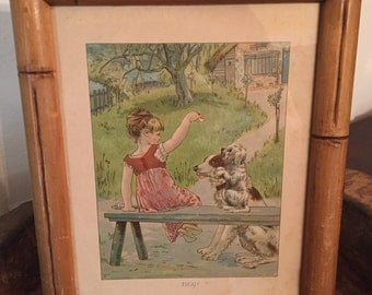 """Antique Chromolithograph Print Entitled """"BEG!"""" in Bamboo Frame   Young Girl with Dogs Begging circa 1910"""