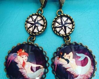 Peter Pan Mermaid Earrings / Vintage Disney Earrings / Nautical Mermaid Earrings / Neverland Mermaid Earrings