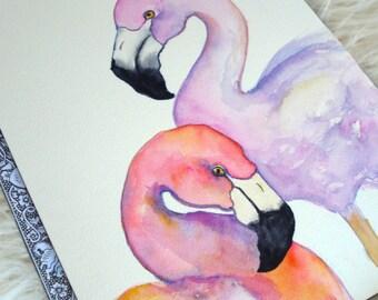 Two Flamingos - original watercolor painting