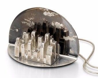New York Pendant, One-Of-A-Kind Silver Diamonds Pendant Necklace, Contemporary Jewelry, Unique Modern Pendant, Architectural Jewelry