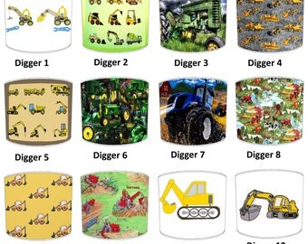 Digger Tractor Construction Print Lamp shades, To Fit Either a Table Lamp base or a Ceiling Light Fitting.