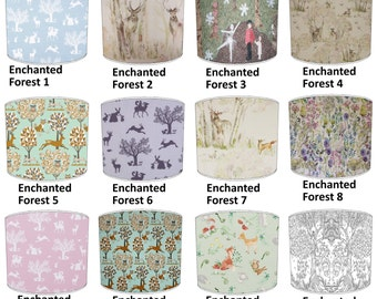 Enchanted Forest Deer Stag Print Lamp shades, To Fit Either a Table Lamp base or a Ceiling Light Fitting.