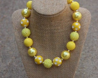 Golden Yellow Pearl and Polka Dot Bubblegum Necklace
