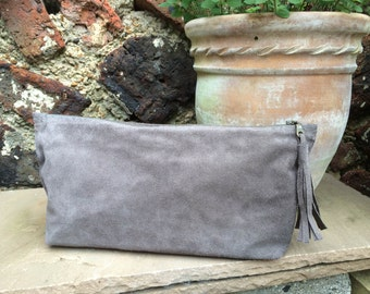 Mink Suede Zip Clutch Bag