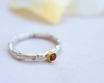 Silver Rhodolite Ring~Silver and Gold Rhodolite Ring~Silver and Gold Rhodolite Twig Ring~Unique Silver Twig Ring~Modern Silver and Gold Ring